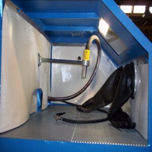 Interior de una chorreadora