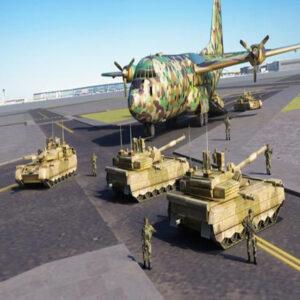 Avión militar y tanques