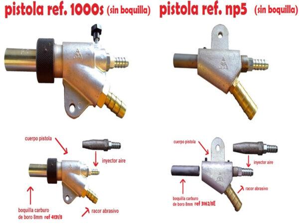Varios modelos de pistolas de chorrear